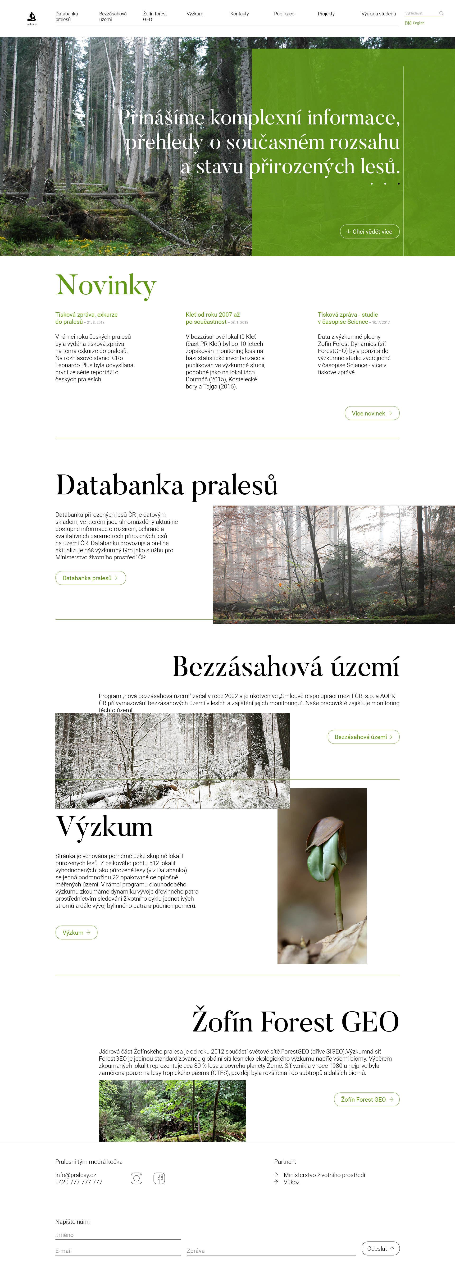 Pralesy ČR - realizace, Web design