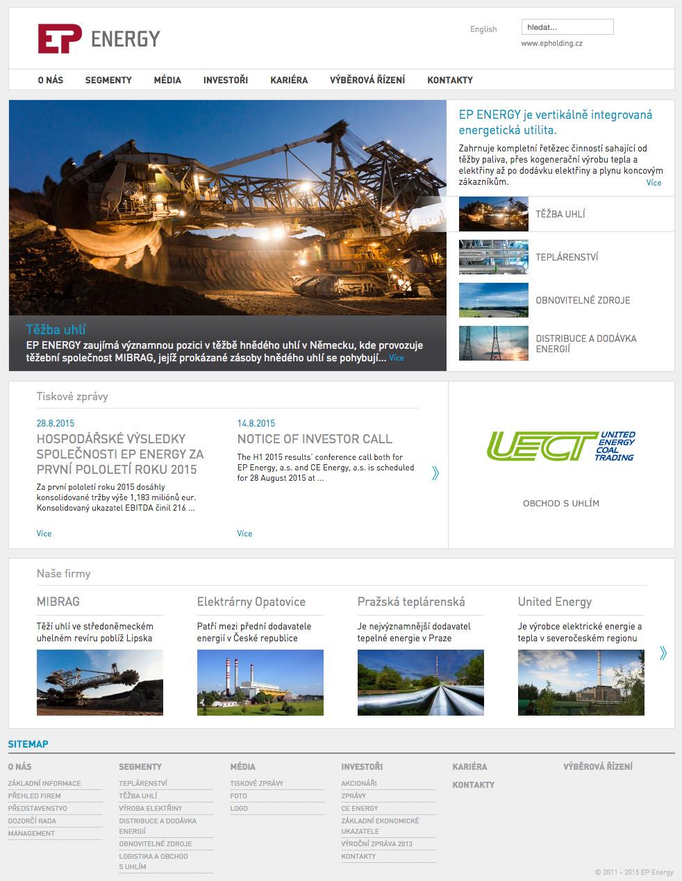 EP Energy - realizace, Web design