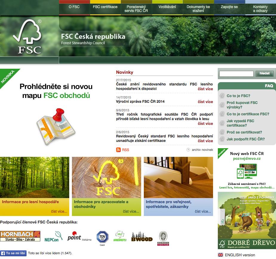 Czech FSC - realizace, Webdesign