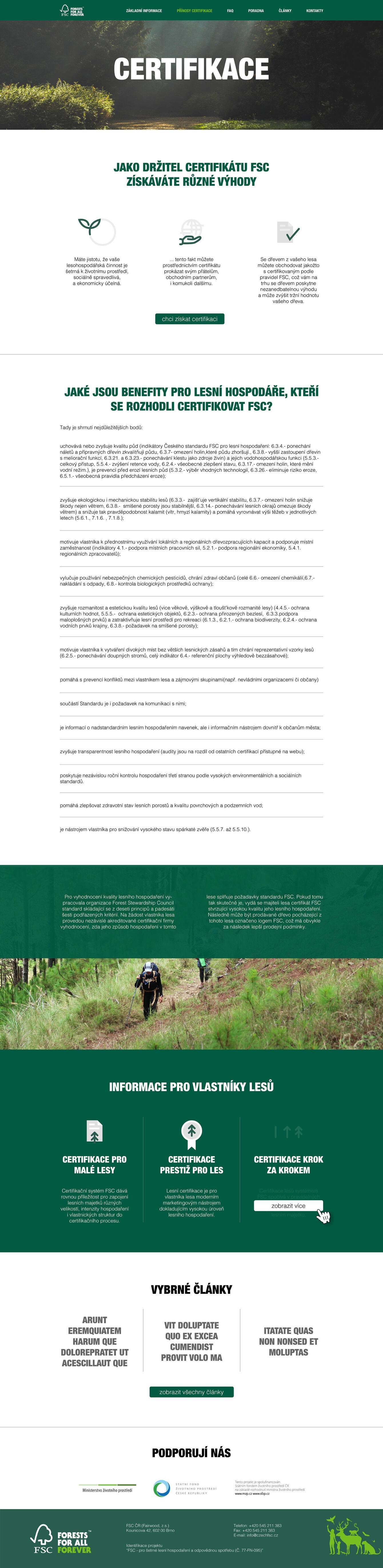 FSC – lesnický web, webdesign