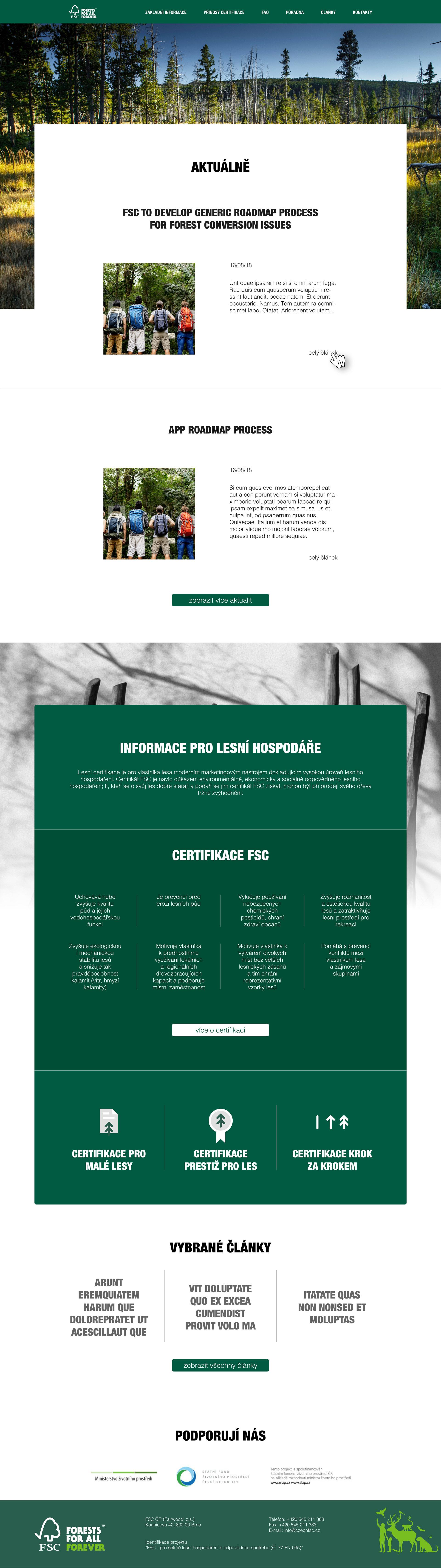 FSC – lesnický web - realizace, Webdesign