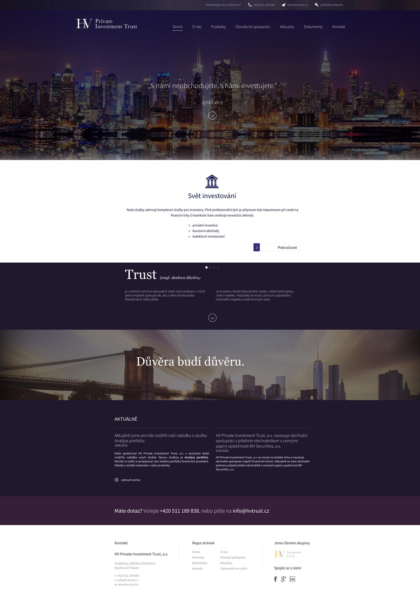 HV Private Investment Trust - realizace, Webdesign