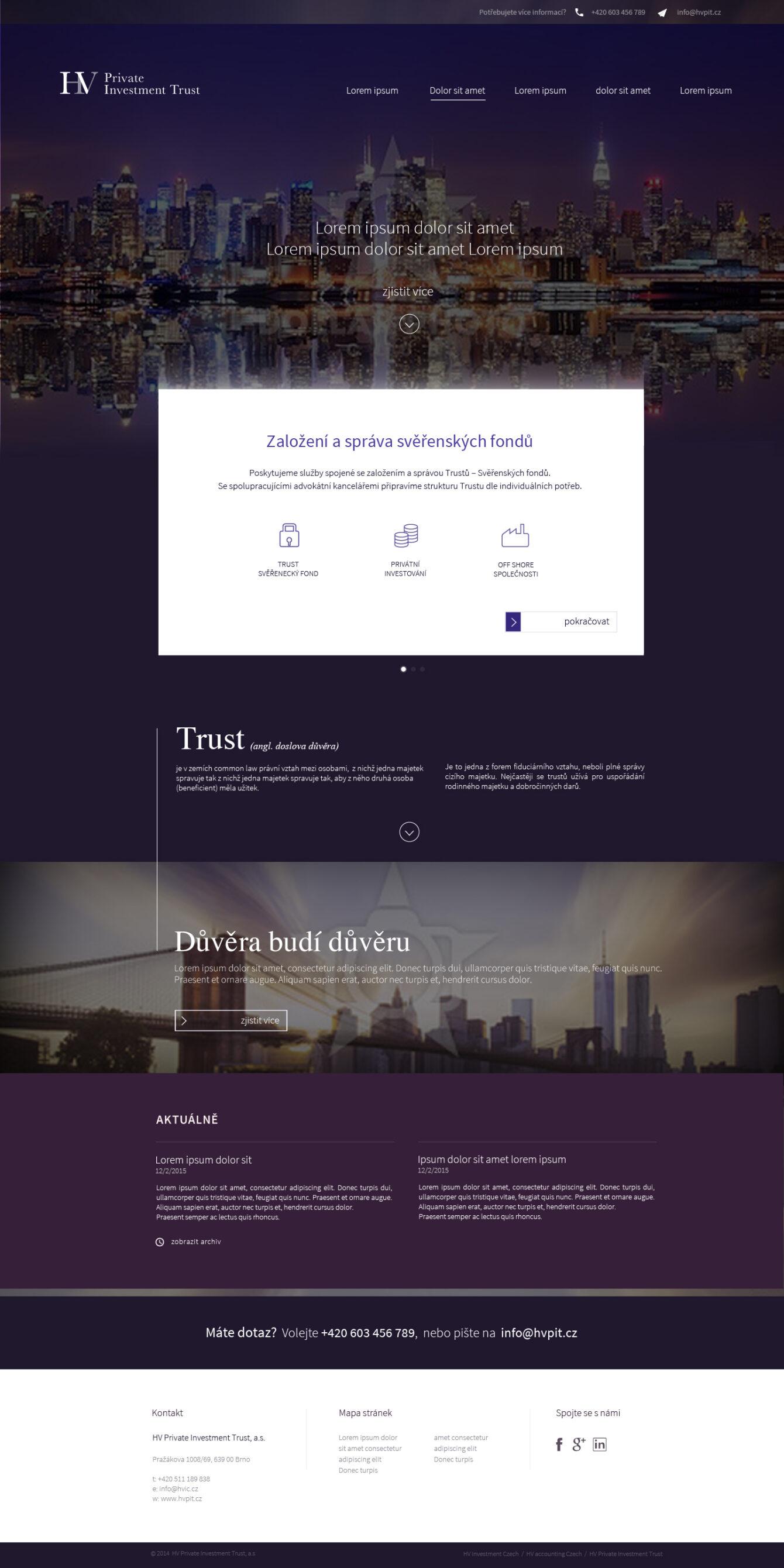 Tvorba webu HV Investment Brno