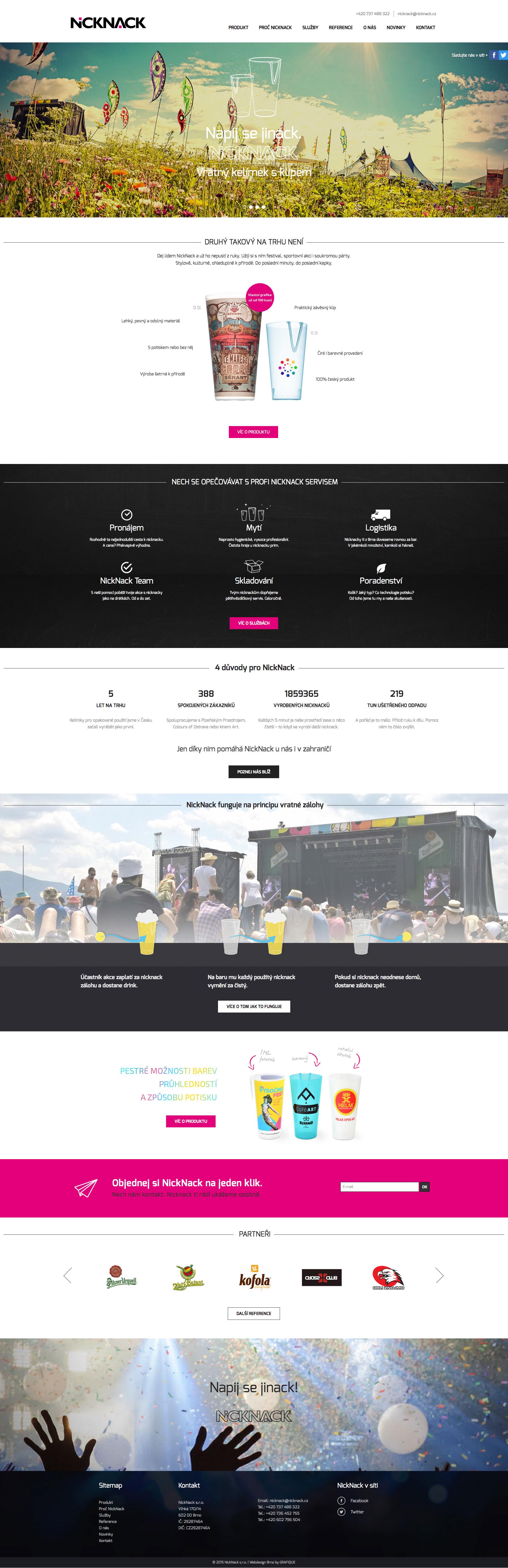NickNack web - realizace, Webdesign