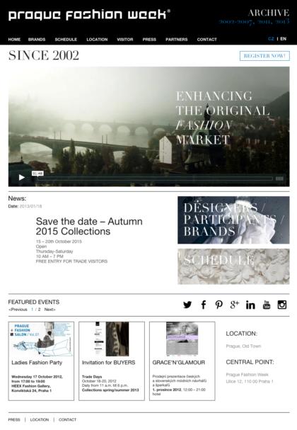 Prague Fashion Week - realizace, Web design