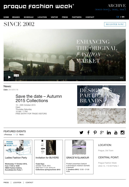 Prague Fashion Week - realizace, Webdesign