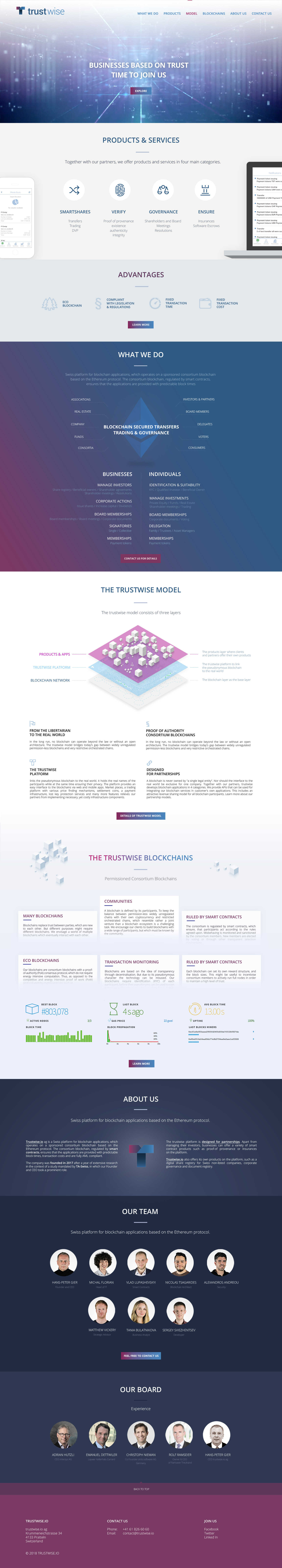 Trustwise.io ag - realizace, Webdesign
