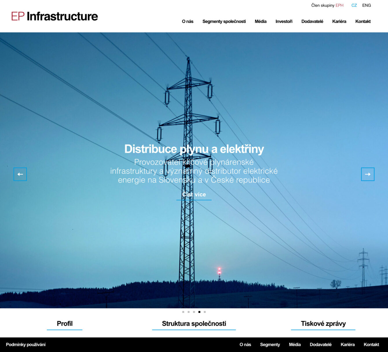 EP Infrastructure, webdesign, corporate identity, Brno
