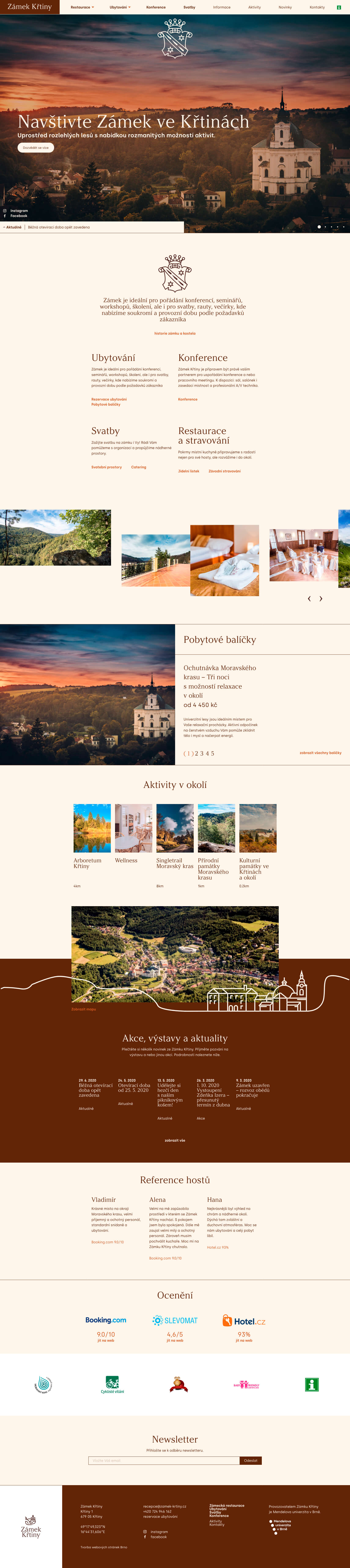 Zámek Křtiny - realizace, Webdesign