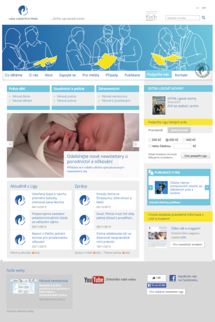 Liga lidských práv - realizace, Web design