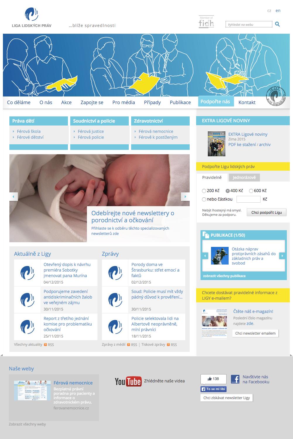 Liga lidských práv - realizace, Webdesign