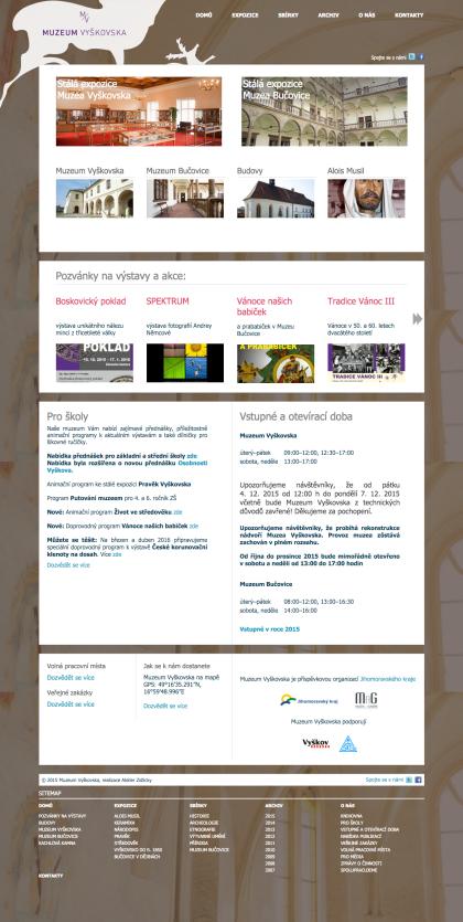 Muzeum Vyškovska - realizace, Web design