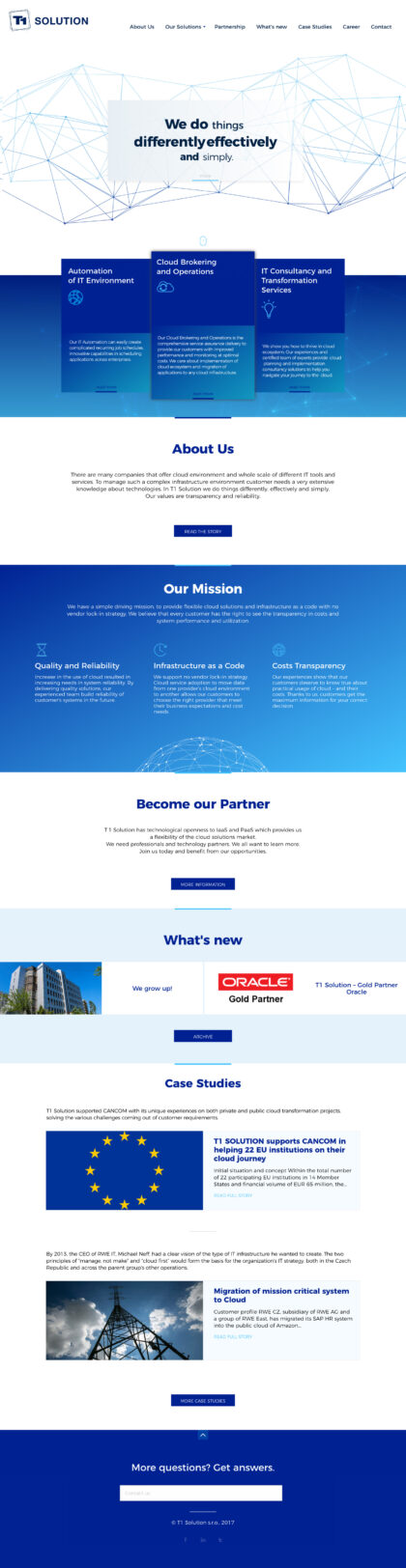 T1 Solutions - realizace, Web design