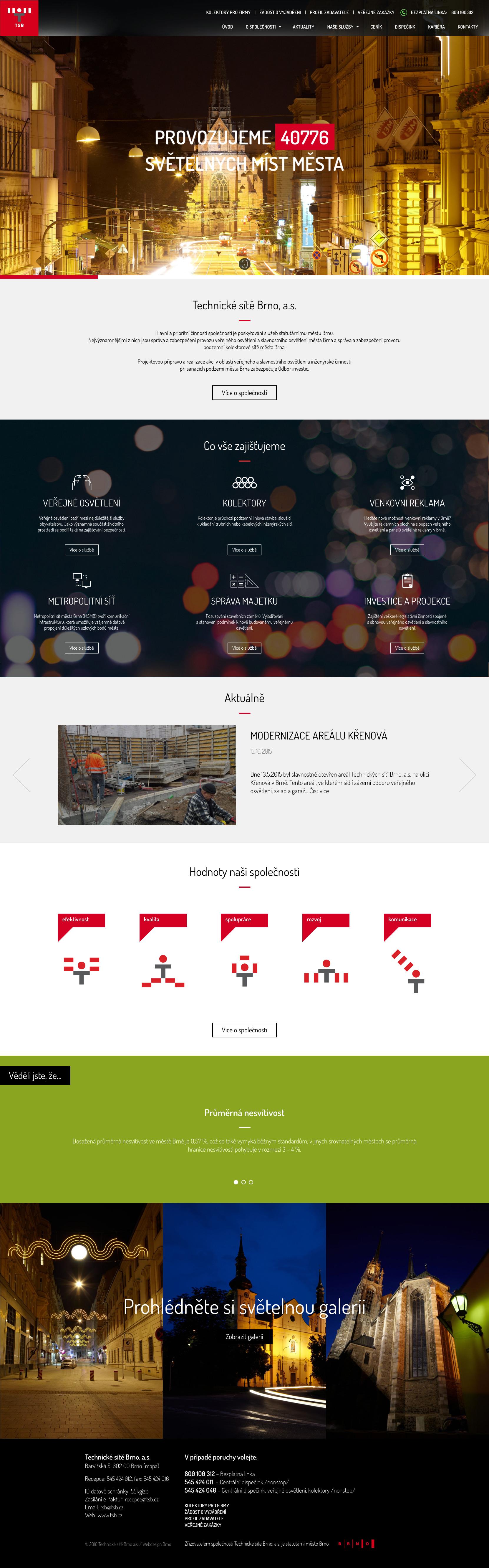 Technické sítě Brno - realizace, Webdesign