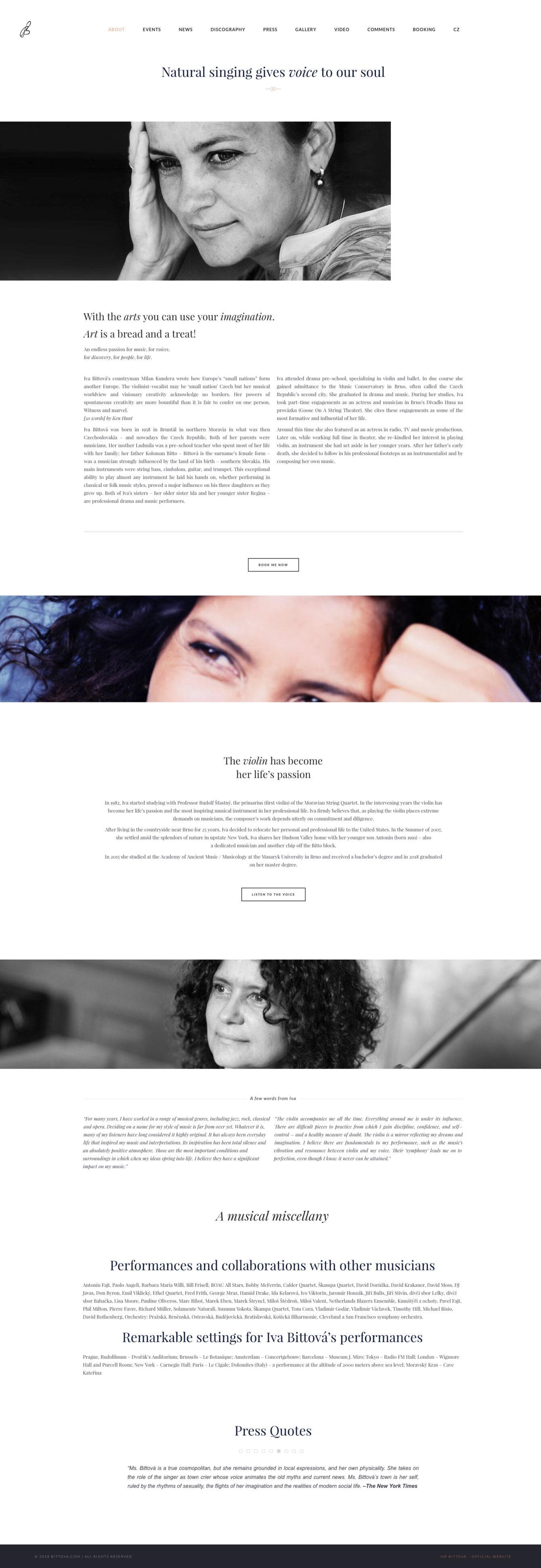 Iva Bittová - official, tvorba webových stránek, Brno