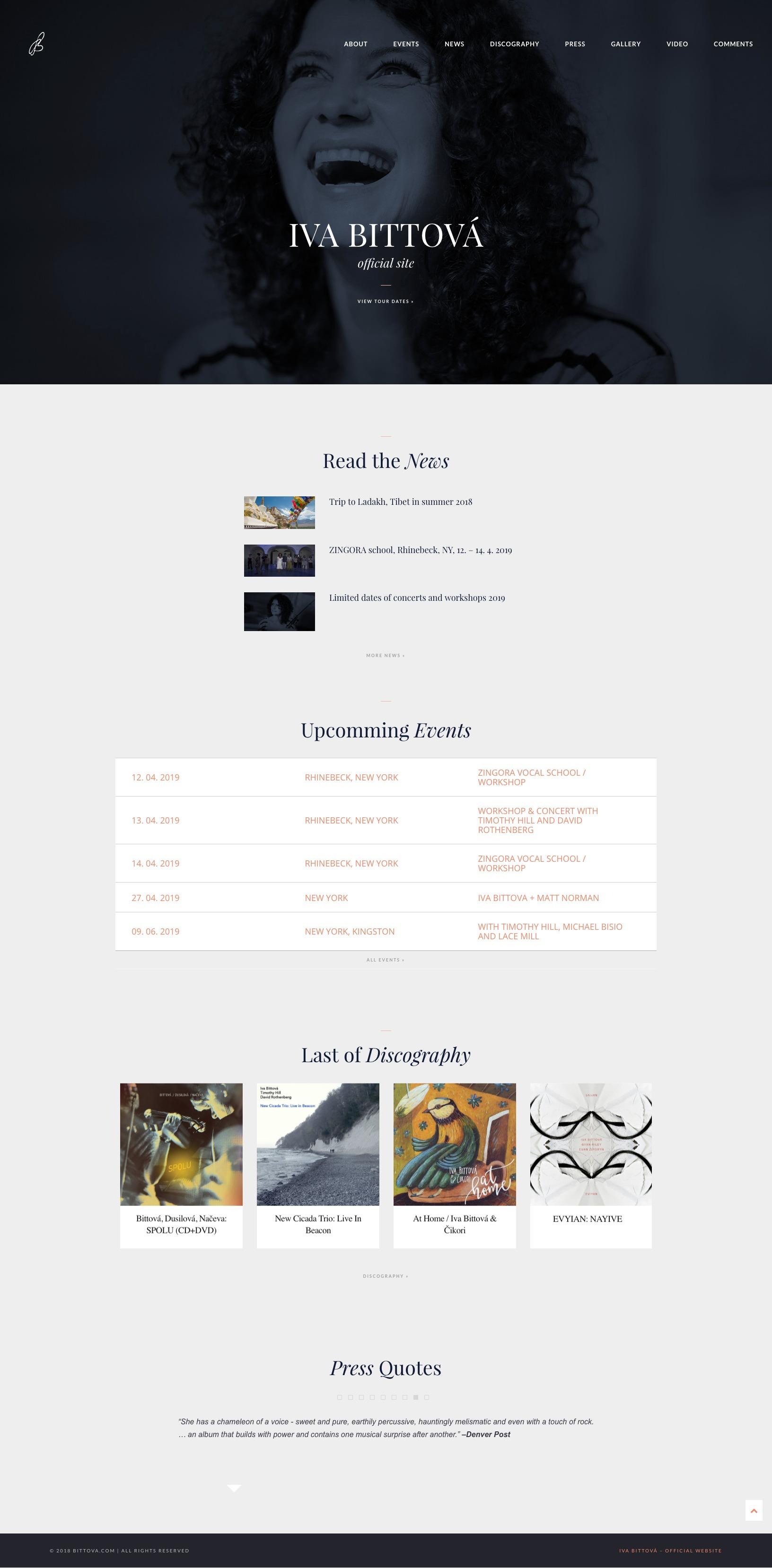Iva Bittová – official - realizace, Webdesign