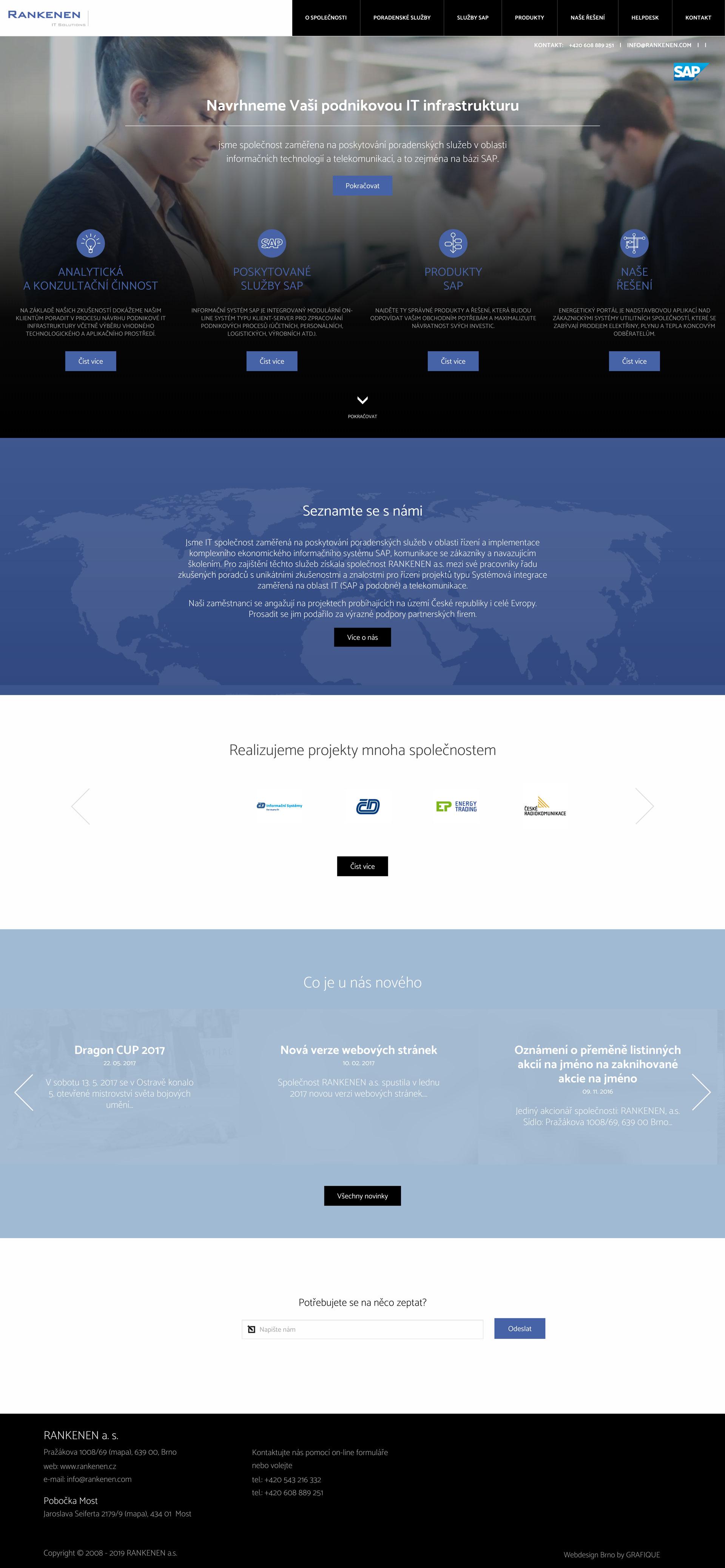 RANKENEN a.s. - realizace, Webdesign