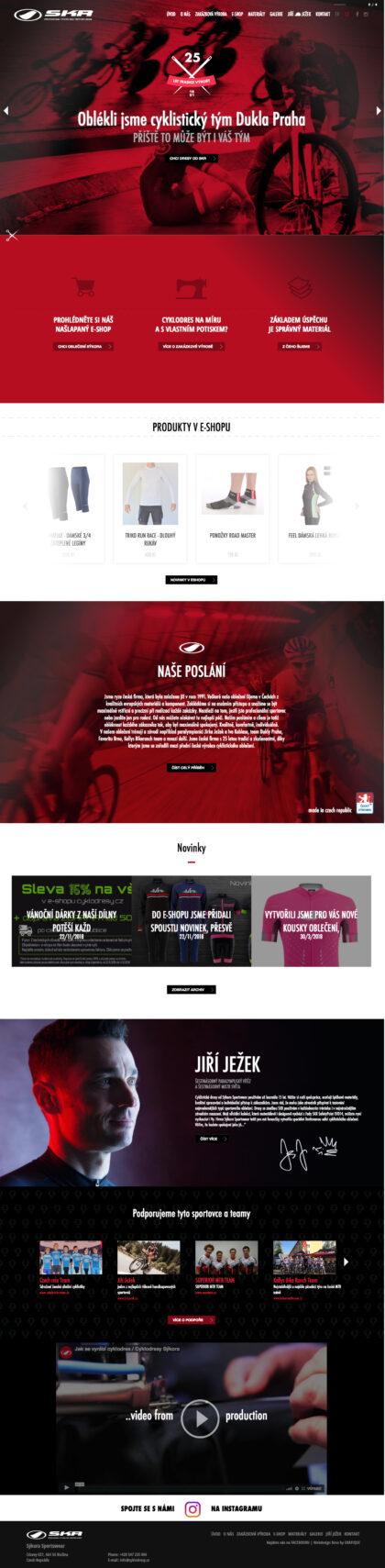 Cyklodresy Sýkora - realizace, Web design