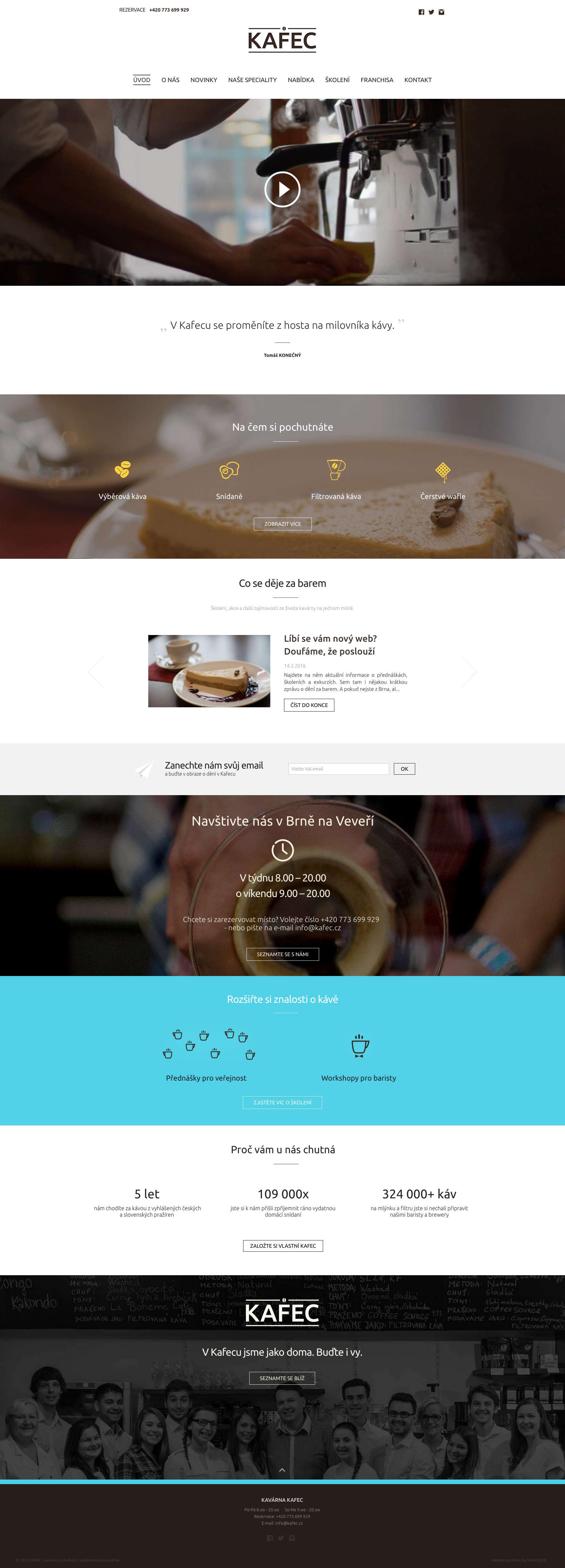 Web kavárny KAFEC - realizace, Webdesign