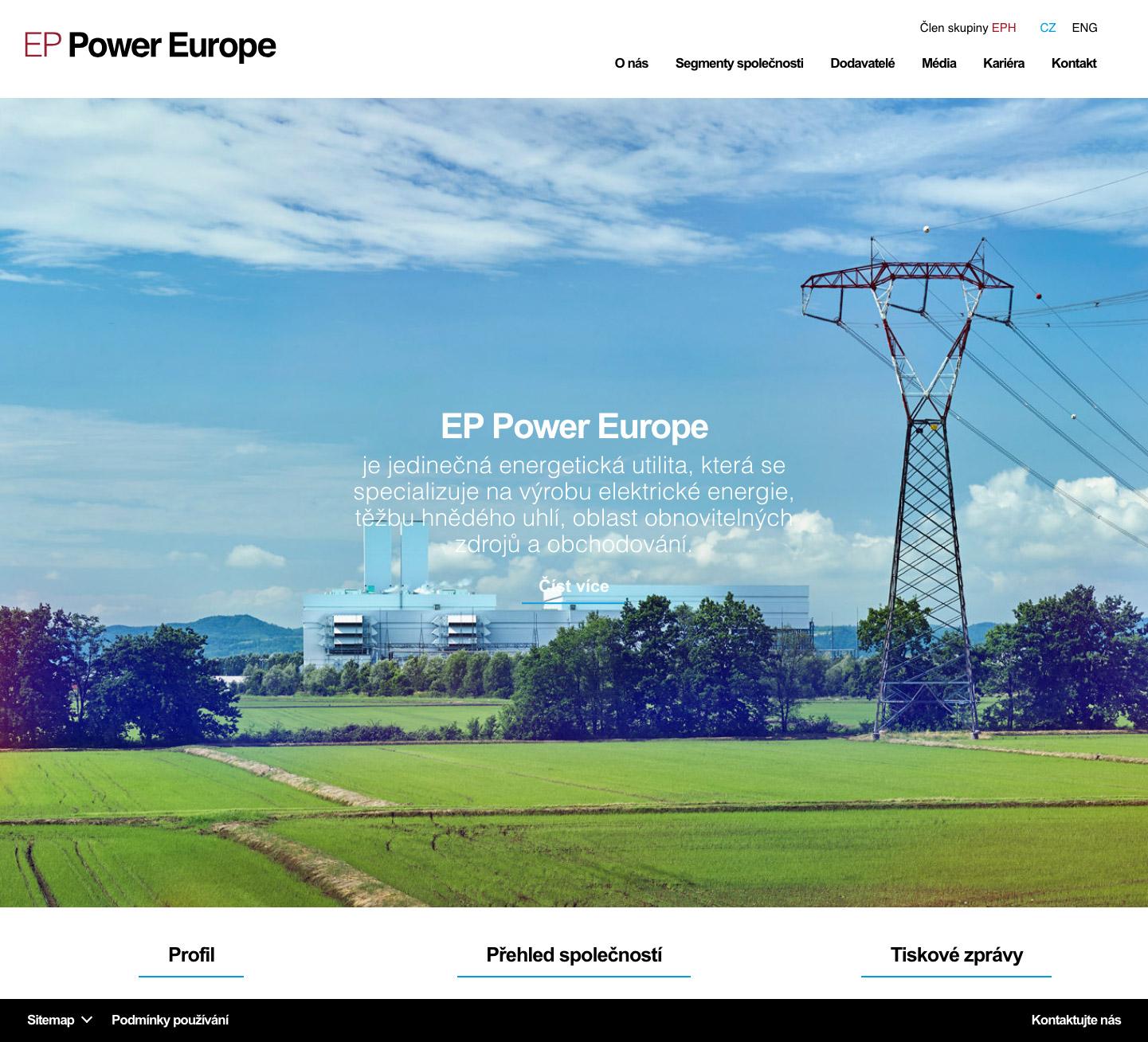 EP Power Europe - realizace, Webdesign