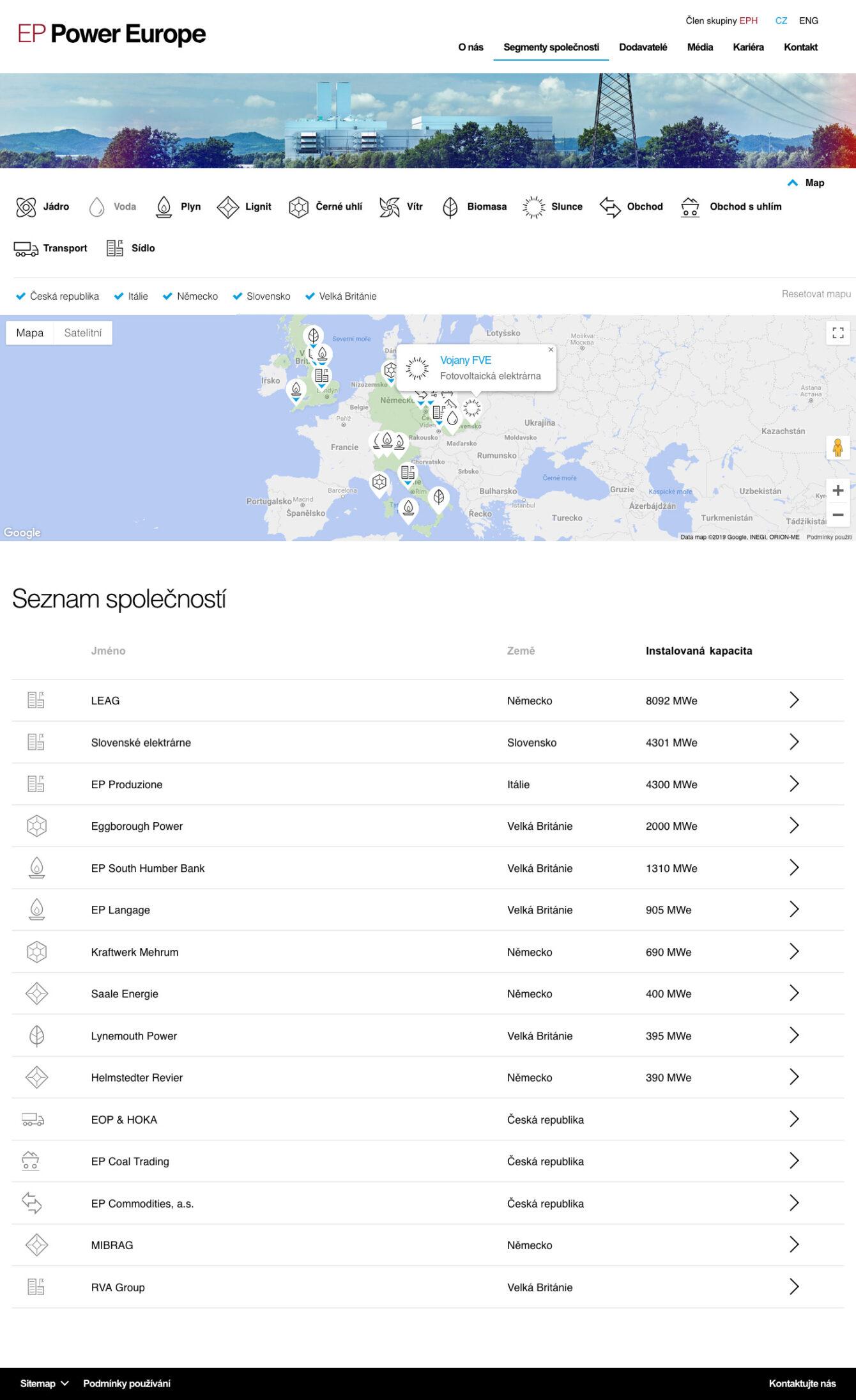 EP Power Europe - tvorba webových stránek, webdesign, Brno