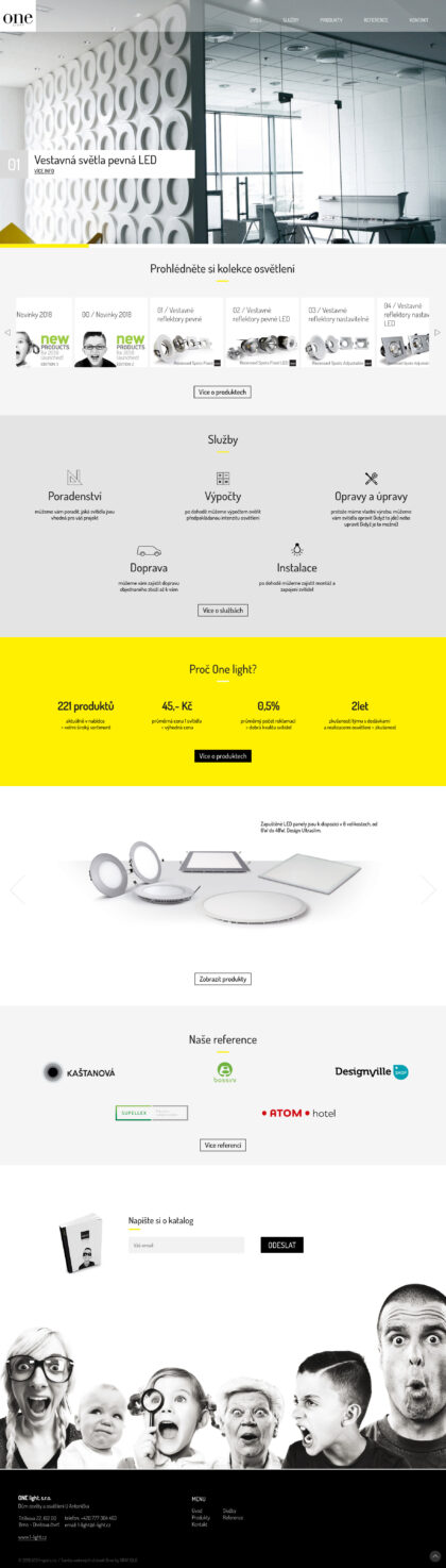 OneLight web - realizace, Webdesign