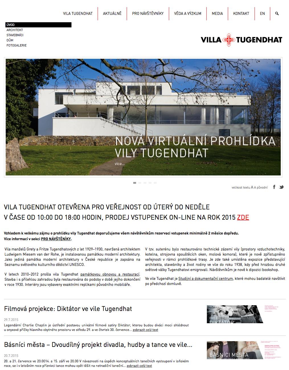 Vila Tugendhat - realizace, Webdesign