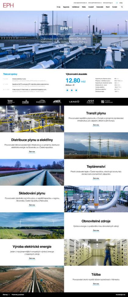 Energetický aprůmyslový holding - realizace, Web design
