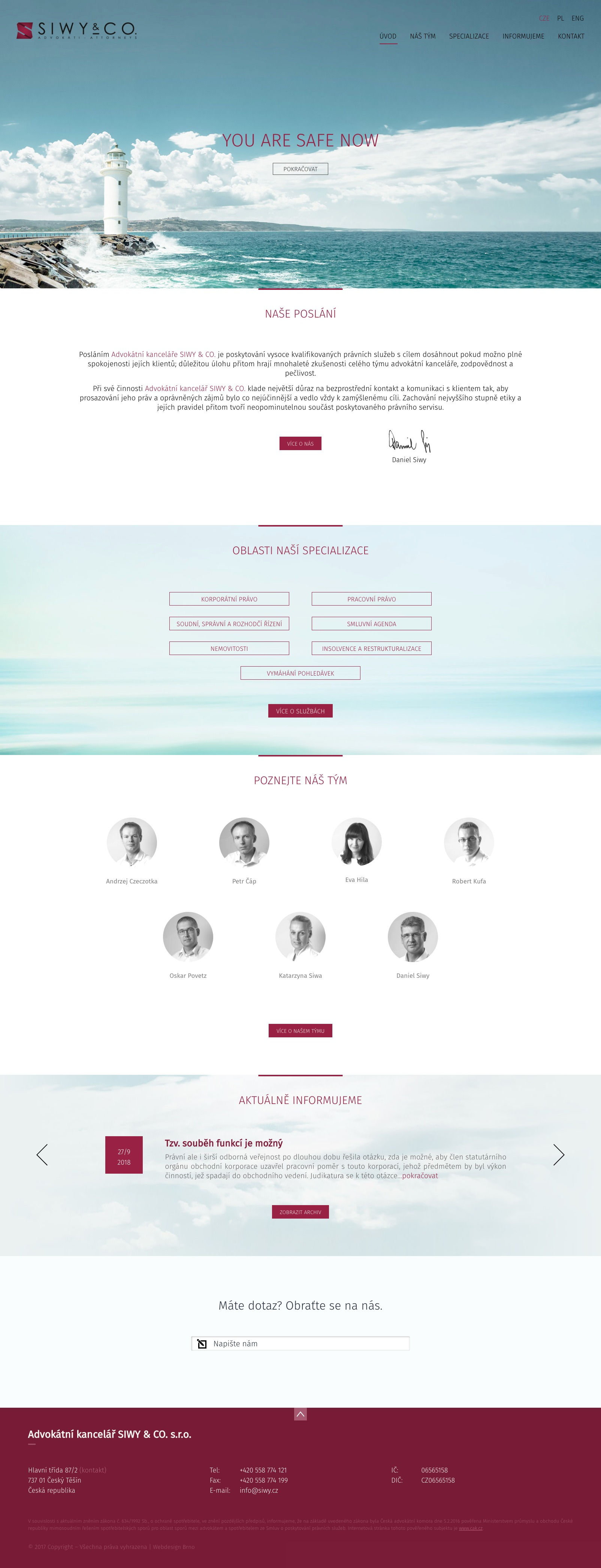 Realizace Webdesign Advokatní kancelář Siwy
